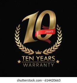 10 Years Warranty background with red ribbon. Poster, label, badge or brochure template. Vector illustration