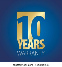 10 Years Warranty gold blue logo icon button stamp vector
