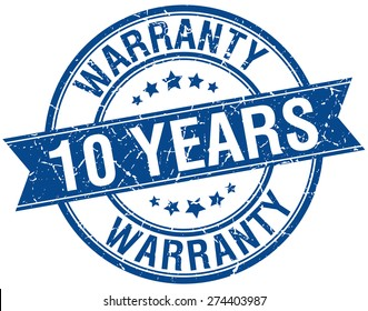 10 years warranty grunge retro blue isolated ribbon stamp