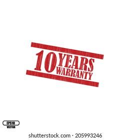 10 years warranty grunge rubber stamp on white background, Eps.10 - vector illustration.