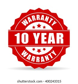 10 years warranty icon, vector illustration isolated on white background