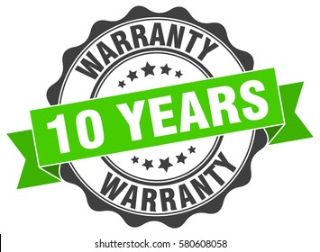 10 years warranty. stamp. sticker. seal. round grunge vintage ribbon 10 years warranty sign