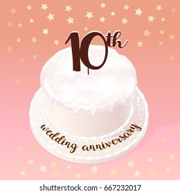 10 years of wedding or marriage vector icon, illustration. Design element with celebration cake for 10th wedding anniversary