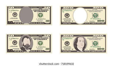 100, 50 Dollar Banknotes. Bill one hundred, fifty dollars. Suitable for discount cards, leaflet, coupon, flyer, vouchers. Vector, flat style. American president Franklin, Grant. Horizontal.
