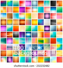 100 abstract colorful smooth blurred vector backgrounds for design