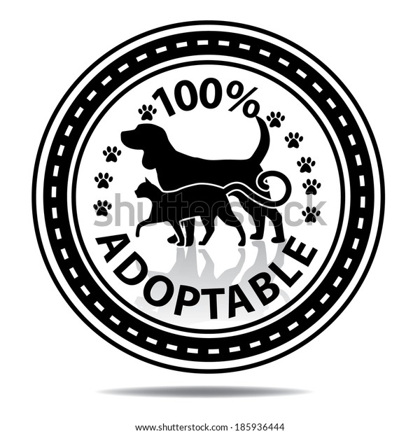 100% adoptable sticker or tag EPS 10 vector, grouped for easy editing. No open shapes or paths.
