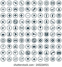 100 airport icons big universal set