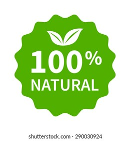 100% all natural stamp, label, sticker or seal flat vector icon for products and websites