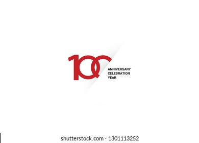 100 anniversaries, minimalist logo. Tenth years, 100th jubilee, greeting card. Birthday invitation. 100 year sign. Red space vector illustration on white background - Vector