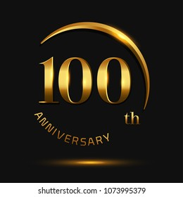 100 Anniversary Celebration Design.invitation card, and greeting card. elegance golden color isolated on black background