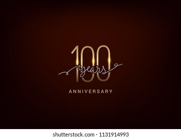 100 Anniversary elegant gold colored isolated on dark background, vector design for celebration, invitation and