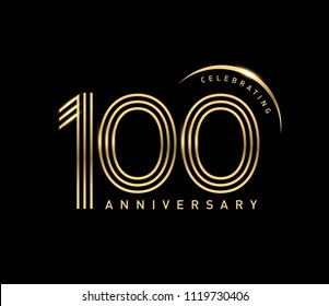 100 Anniversary gold numbers with golden ring. Celebrating anniversary event party template.
