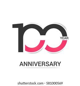 100 Anniversary  Logo Celebration, Black and Pink Flat Design Isolated on White Background