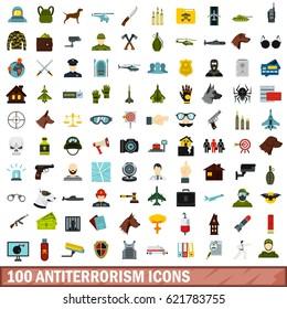 100 antiterrorism icons set. Flat illustration of 100 antiterrorism vector icons set isolated on white background
