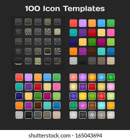 100 App Icon Templates. Set. Vector