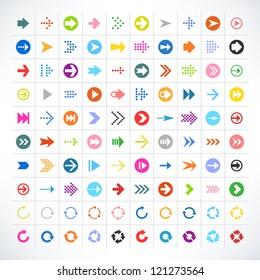 100 arrow sign icon set. Volume 02 (color version). 25 different colors. Simple pictogram minimal, flat, solid, mono, plain, contemporary style. Vector illustration web internet design elements 8 eps