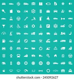 100 auto icons, white on green background