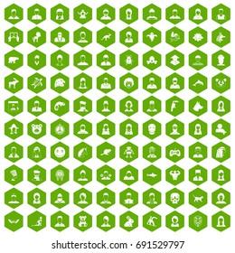 100 avatar icons set in green hexagon isolated vector illustration