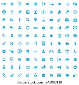 100 B2B icons, blue on white background