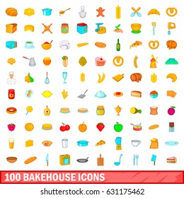 100 bakehouse icons set in cartoon style for any design vector illustration