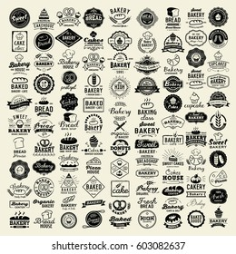 100 Bakery logotypes set. Bakery typography, logos, badges, labels, icons and objects.