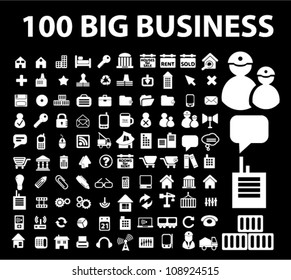 100 big business icons set, vector