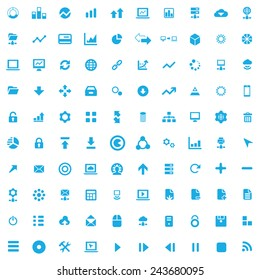 100 big data, database icons, blue on white background