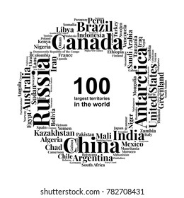 100 biggest countries word cloud. Collage of largest territories in the world. Travel concept vector illustration. Geography infographics