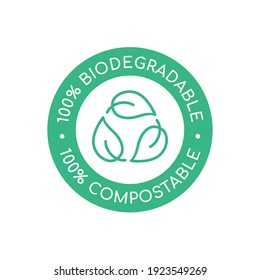 100% biodegradable 100% compostable icon, logo. Green leaves in a circle. Round biodegradable symbol. Natural recyclable packaging sign. Eco friendly product. Vector illustration, flat, clip art.