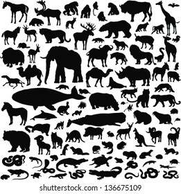 100 black icons of images of animals on a white background