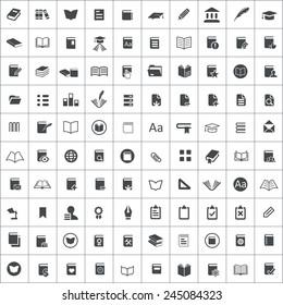 100 books icons, black on square white background