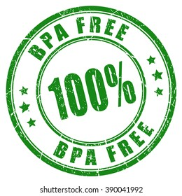 100 bpa free green stamp, vector illustration isolated on white background