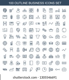 100 business icons. Trendy business icons white background. Included outline icons such as case, key, internet, wall clock, teacher, highlighter. business icon for web and mobile.