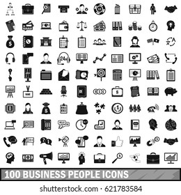 100 business people icons set in simple style for any design vector illustration