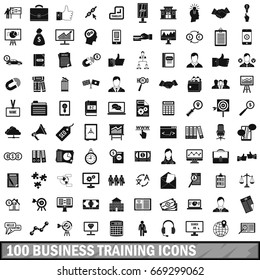 100 business training icons set in simple style for any design vector illustration