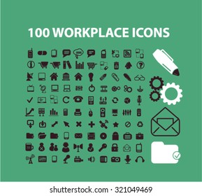 100 business, workplace, office supplies, tools, equipment icons