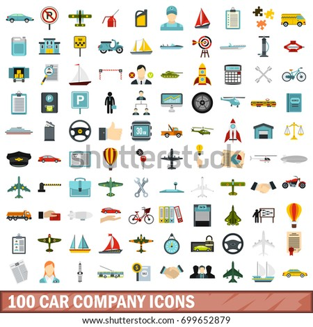 100 Car Company Icons Set Flat Stock Vector Royalty Free 699652879