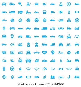100 car icons, blue on white background