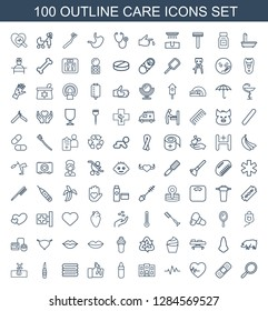 100 care icons. Trendy care icons white background. Included outline icons such as mirror, bandage, heartbeat, hospital building, lipstick, injured finger. care icon for web and mobile.