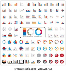 100 charts diagrams and business graphs icons set.