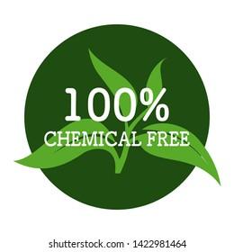 100% Chemical free  sign or stamp symbol.