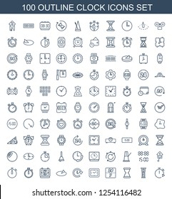 100 clock icons. Trendy clock icons white background. Included outline icons such as stopwatch, pendulum, hourglass, hour, time, sundial, digital time. clock icon for web and mobile.