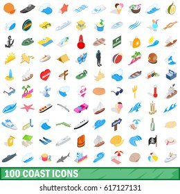 100 coast icons set in isometric 3d style for any design vector illustration