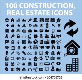 100 construction, real estate icons set, vector