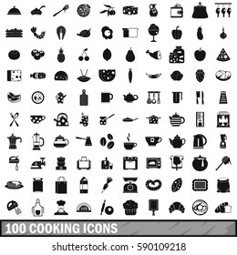 100 cooking icons set in simple style for any design vector illustration