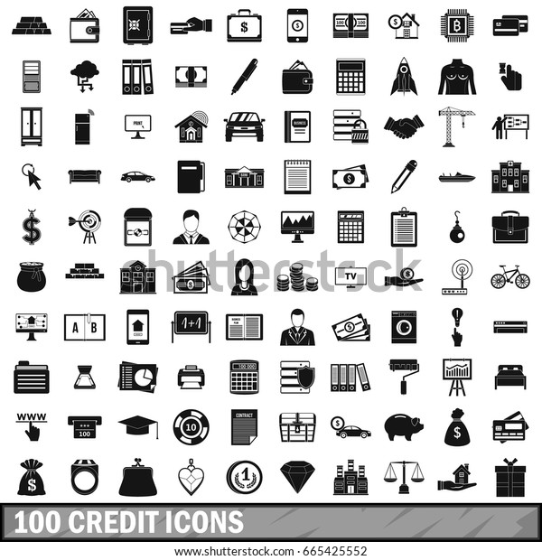 100 credit icons set in simple style for any design vector illustration