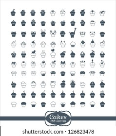 100 cupcake outline vector Icons