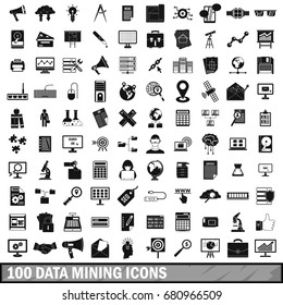 100 data mining icons set in simple style for any design vector illustration