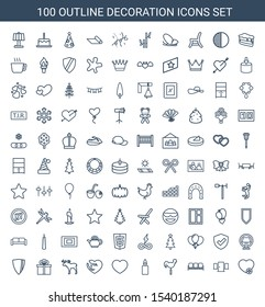 100 decoration icons. Trendy decoration icons white background. Included outline icons such as add favorite, door, sofa, weather vane, candle. decoration icon for web and mobile.