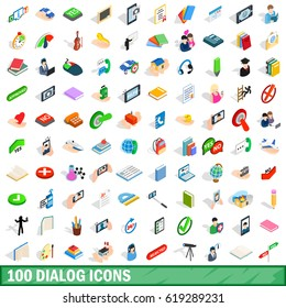 100 dialog icons set in isometric 3d style for any design vector illustration